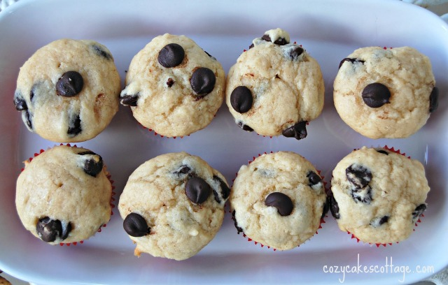 mini chocolate chip muffins top view