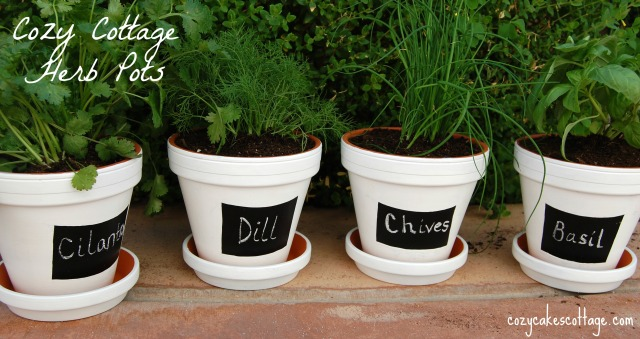 labeled complete herb pots all four