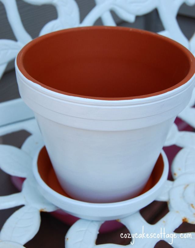 painted pot just white