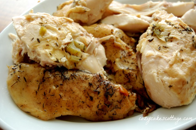 slow cooker whole chicken plated