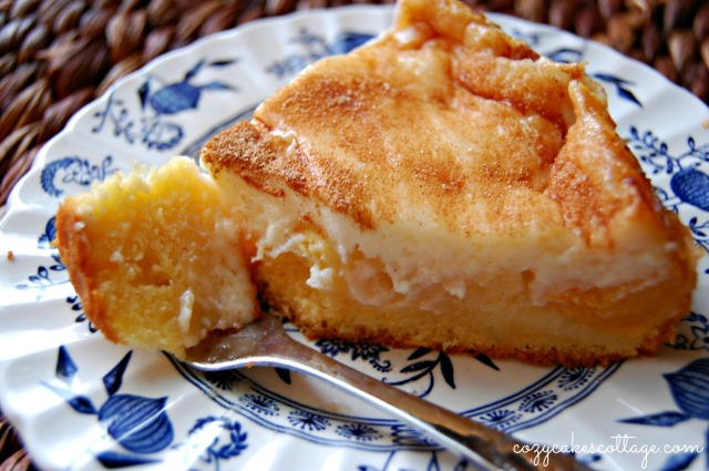 Peaches n' Cream Cobbler Pie (slice fork): Cozycakes Cottage