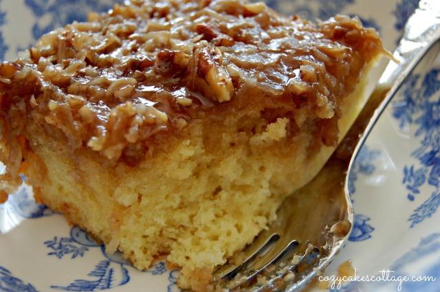 Lazy Daisy Hot Milk Cake: Cozycakes Cottage (close fork)
